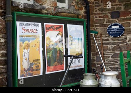 Old memorabilia at Woody Bay Station, Lynton & Barnstaple narrow gauge railway in August - Stock Photo