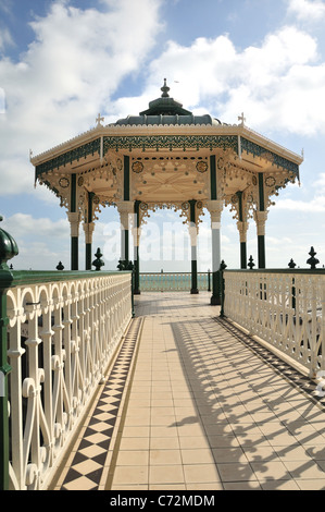 The recently renovated Victorian Brighton Bandstand (Birdcage), Brighton seafront, East Sussex, UK - Stock Photo