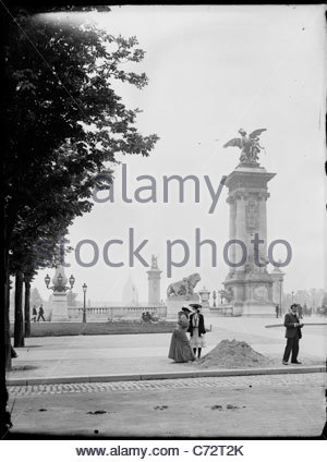 at Pont Alexandre III around the time of the Exposition Universelle de Paris 1900 France - Stock Photo
