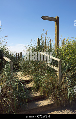 Wooden steps and signpost on Ayrshire beach, indicating the direction to the 'Smugglers Cove'. Troon, Ayrshire, - Stock Photo