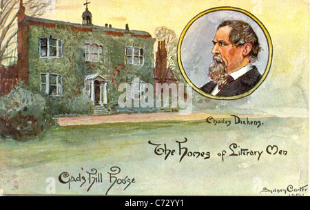 Picture postcard by artist Sydney Carter of Charles Dickens in the series Homes of Literary Men