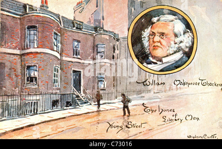 Picture postcard by artist Sydney Carter of William Makepeace Thackeray in the series Homes of Literary Men