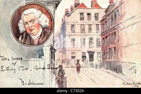 Picture postcard by artist Sydney Carter  of the home of Samuel Johnson in the series Homes of Literary Men