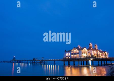 Pier in Sellin, seaside resort on Ruegen Island, evening mood, Baltic Sea, Mecklenburg-Western Pomerania, Germany, - Stock Photo