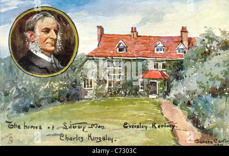 Picture postcard by artist Sydney Carter of Charles Kingsley in the series Homes of Literary Men