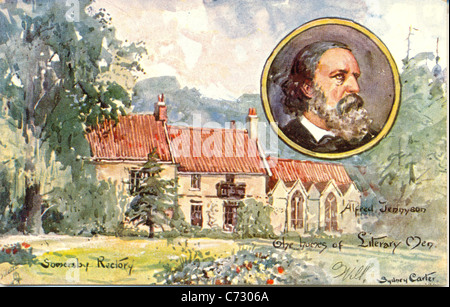 Picture postcard by artist Sydney Carter  of Alfred Tennyson in the series Homes of Literary Men