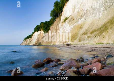 Chalk cliffs at sunrise in the Jasmund National Park, Ruegen Island, Mecklenburg-Western Pomerania, Germany, Europe - Stock Photo