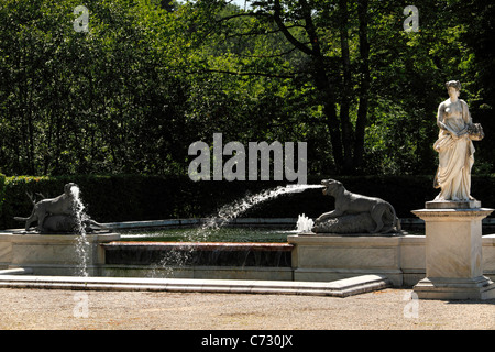 Hunting animal figures and marble figure of the sea goddess Amphitrite, South Marble Fountain,Herrenchiemsee, Herreninsel - Stock Photo