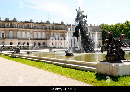 Schloss Herrenchiemsee Palace with Fama Fountain, Herreninsel Upper Bavaria Germany - Stock Photo