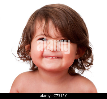 Cute happy funny baby toddler face smiling showing teeth, isolated. - Stock Photo
