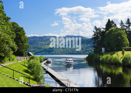 View down the Caledonian Canal towards Loch Ness, Fort Augustus, Highland, Scotland, UK - Stock Photo
