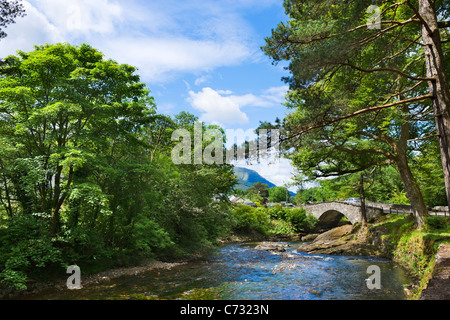 Bridge over the River Coe in the village of Glencoe, Glen Coe, Scottish Highlands, Scotland, UK - Stock Photo