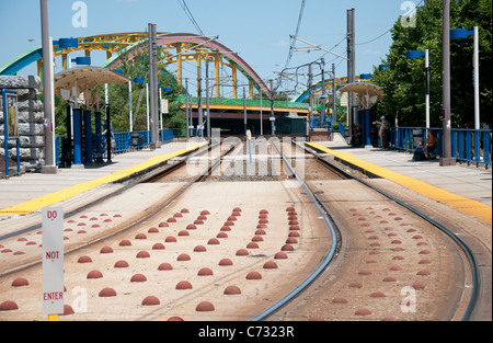 Mt Royal Avenue Light Rail Station in Baltimore, Maryland USA - Stock Photo