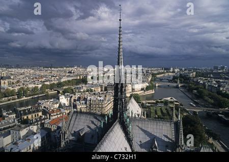 View from the tower of Notre Dame Cathedral, Ile de la Cite, 4e Arrondissement, Paris, France - Stock Photo