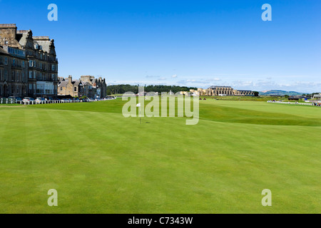 View from the 18th Green with the Old Course Hotel in the distance, Old Course at St Andrews, Fife, Scotland, UK - Stock Photo