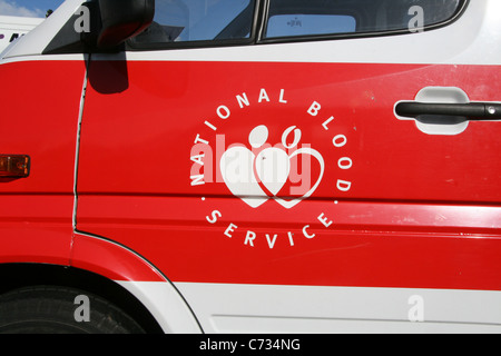 national blood service truck van mobile centre - Stock Photo