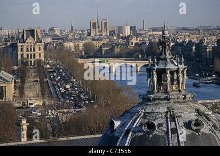 View over the Petit Palais onto the Seine river and the Ile de Cite, Paris, France, Europe - Stock Photo