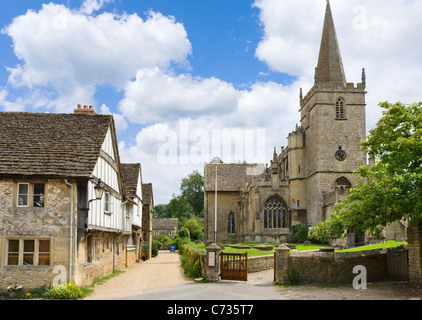 Church of St Cyriac in the picturesque village of Lacock, near Chippenham, Wiltshire, England, UK - Stock Photo