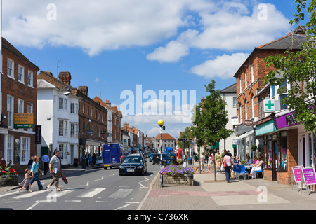 Shops and cafe on the High Street in Marlow, Buckinghamshire, England, UK - Stock Photo