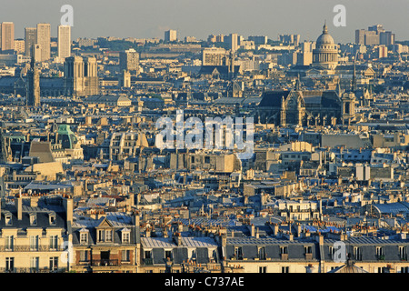 View of roofs of Paris in the evening sun, Paris, France, Europe - Stock Photo