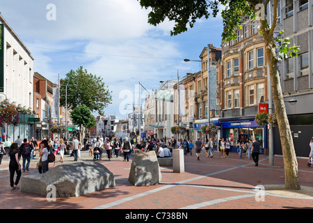 Shops on Broad Street (the main shopping area) in the city centre, Reading, Berkshire, England, UK - Stock Photo