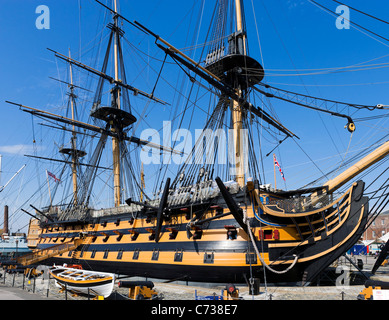 Lord Nelson's flagship HMS Victory in Portsmouth Historic Dockyard, Portsmouth, Hampshire, England, UK - Stock Photo