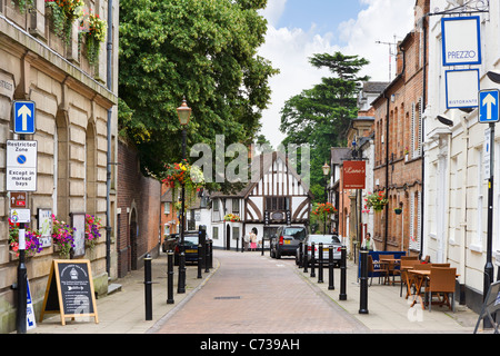 Cafes and restaurants on Castle Street in the old town centre, Warwick, Warwickshire, England, UK - Stock Photo