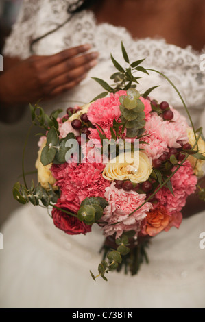 Pink And White Roses A Wedding Flowers Bouquet Of Cream Green Foliage On