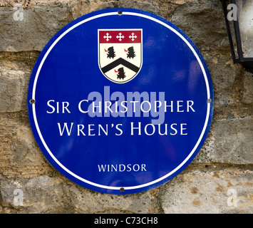 Plaque on the wall of Sir Christopher Wren's house in Windsor, Berkshire, England, UK - Stock Photo