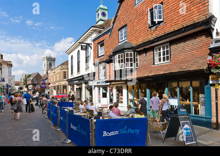 Cafe and shops on the High Street in Salisbury, Wiltshire, England, UK - Stock Photo