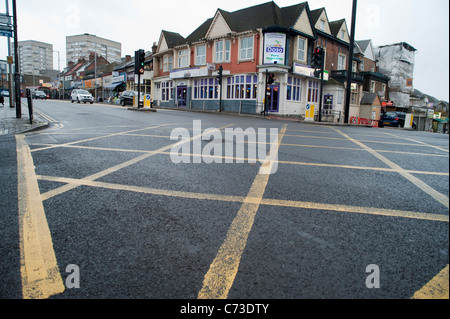 An empty box junction in Wembley - Stock Photo