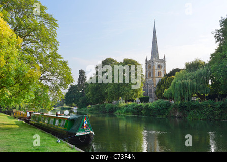 The Church of the Holy Trinity (where Shakespeare is buried) from across the River Avon, Stratford-upon-Avon, Warwickshire, - Stock Photo