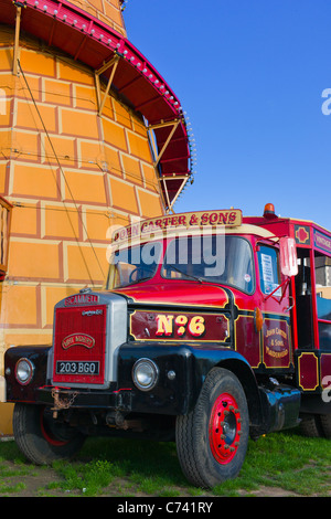 old fashioned lorry at traditional steam travelling fun fair , Weston super Mare , North Somerset , England - Stock Photo