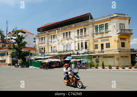 french colonial building in phnom penh cambodia - Stock Photo