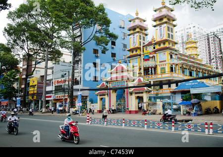 cao dai temple in ho chi minh city vietnam - Stock Photo