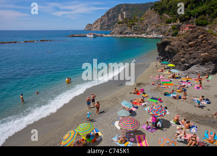 Bathing beach of Monterosso al Mare, Cinque Terre, Unesco World Heritage site, Liguria di Levante, Italy, Mediterranean - Stock Photo