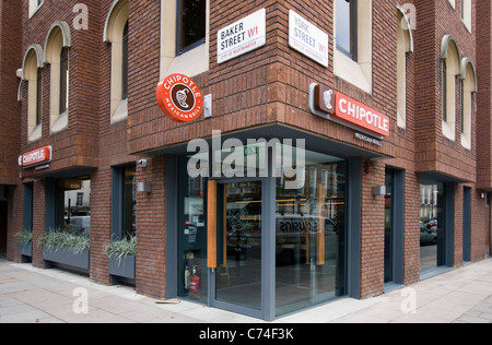 Chipotle Mexican restaurant opens today, 5th September,2011, Baker Street & York Street Junction, London, England, - Stock Photo
