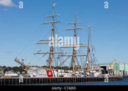 The USCGC 'Eagle', a barque used for training, docked at its homeport at the Coast Guard Academy in New London, - Stock Photo