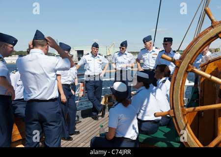 New officers train aboard the USCGC 'Eagle' at its homeport at the Coast Guard Academy in New London, Connecticut. - Stock Photo