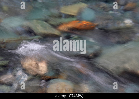 Detail of water flowing in the rocky Matukituki River between Wanaka and Mt Aspiring National Park - Stock Photo