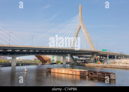 The Leonard P. Zakim Bunker Hill Memorial Bridge carries I-93 and US Route 1 over the Charles River in Boston, MA. - Stock Photo