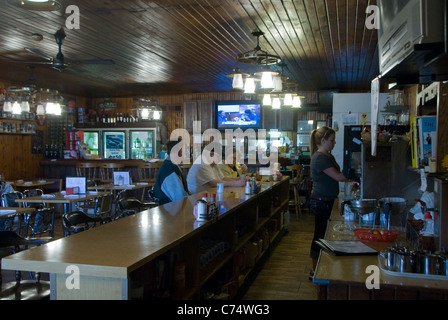 Old Log Cabin Diner, Route 66,  Pontiac, Illinois, USA - Stock Photo