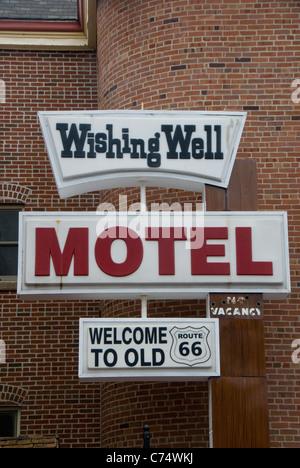 Wishing Well Motel sign, Route 66, Pontiac, Illinois, USA - Stock Photo