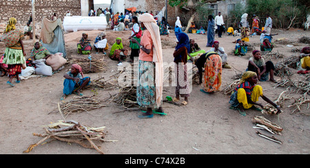Local traders at the Oromo market near Erer Gate in the ancient walled city of Harar in Eastern Ethiopia, Africa. - Stock Photo