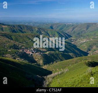 Portugal, the Beira Alta, Serra da Estrela, near Piodao, landscape with small villages (Casarias and Sabral Gordo) - Stock Photo
