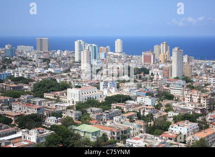 Vedado Quarter in Havana, Cuba. Caribbean Sea in the background. - Stock Photo