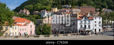 Portugal, Sintra, buildings of the old town, the Praca da Republica square - Stock Photo