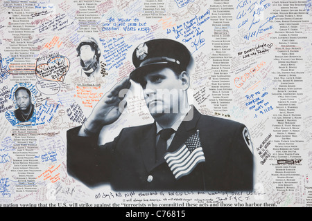 Messages and remembrances of 9/11 posted on Greenwich Street near the entrance to the National September 11 Memorial. - Stock Photo