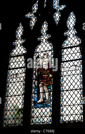 Saint Christopher stained glass window, Bristol Cathedral, England, United Kingdom - Stock Photo