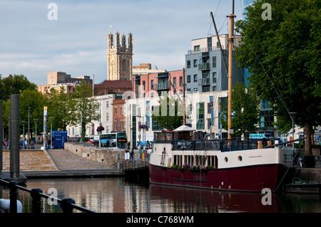 Broad Quay and St Stephen's Church, The Centre, Bristol, England, United Kingdom - Stock Photo